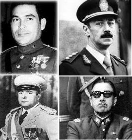 Fulgencio Batista, Jorge Rafael Videla, Anastacio Somoza y Augusto Pinochet.
