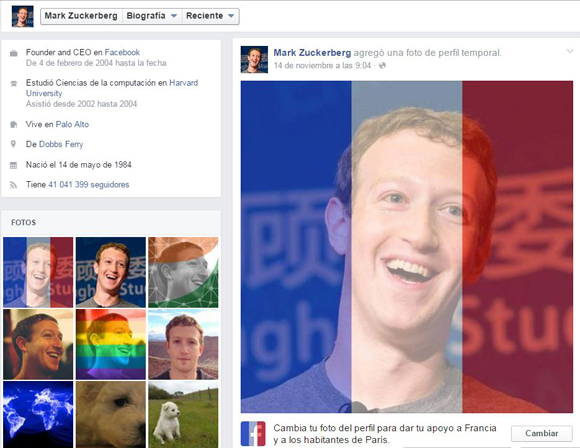 Perfil de Mark Zuckerberg en Facebook.