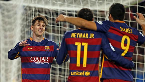 Messi, Neymar y Suárez, la MSN fue clave una vez más y ya suman 26 goles. Foto Miguel Ruiz/FCB.