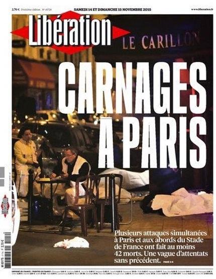 La portada de Libération decía 'Carnicería en París'.