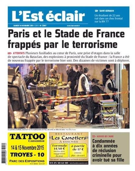 París y el estado de Francia golpeado por el terrorismo' fue la portada contundente del L'Est éclair.