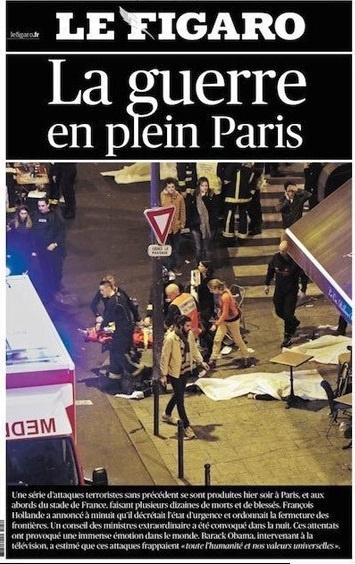 La guerra en pleno París', portada del Le Figaro.