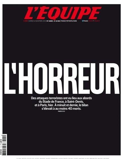 """L'Equipe, el periódico deportivo más importante de Francia tuvo de portada """"El horror""""."""