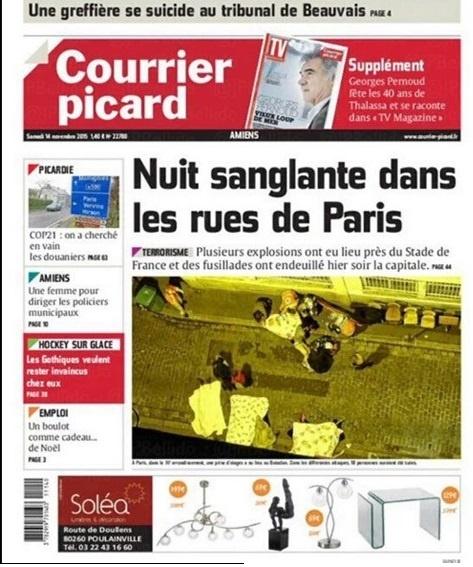 'Noche sangrienta en las calles de París' reseñó Courrier Picard.