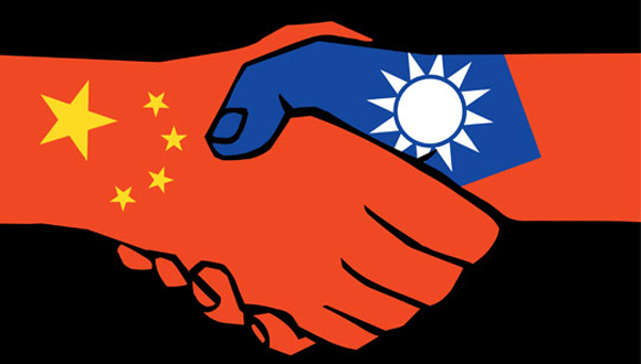china y taiwan manos banderas