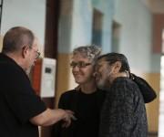 Con Silvio Rodríguez y Leo Brouwer, antes de que el cantautor cubano y Mayte actuaran una lluviosa tarde en un recital gratuito. Foto: Isabel Camps