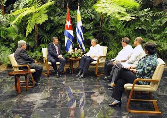 Encuentro de Raúl Castro con canciller de Uruguay. Foto: Estudios Revolución.