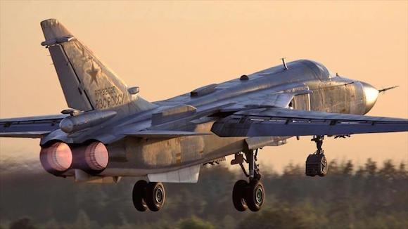 Una aeronave de guerra rusa modelo Sujoi Su-24.