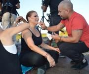 Olga se prepara para la filmación del videoclip con Descemer y Qva Libre en el Parque Lenin. Foto: Marianela Dufflar/ Cubadebate.