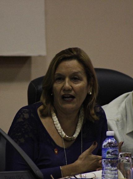 Elba Rosa Pérez, ministra de Ciencia Tecnología y Medio Ambiente, durante la sesión conjunta de Servicios, Agroalimentaria y Salud. Foto: José Raúl Concepción/Cubadebate.