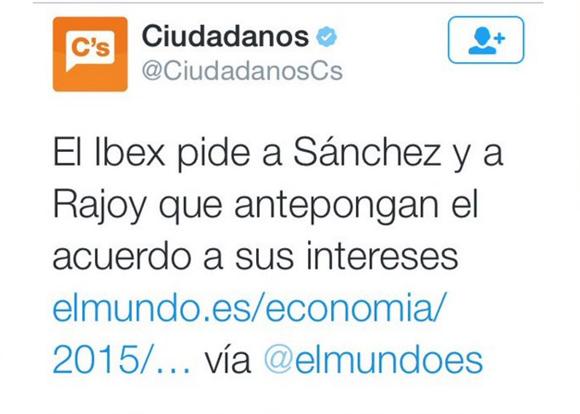 Mensaje publicado en Twitter por la cuenta oficial de Ciudadanos.