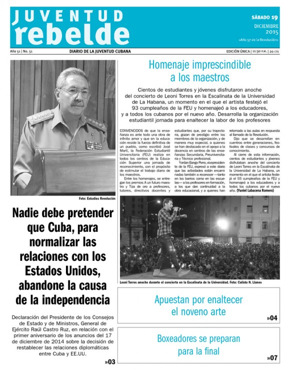 Periódico Juventud Rebelde, sábado 19 de diciembre de 2015