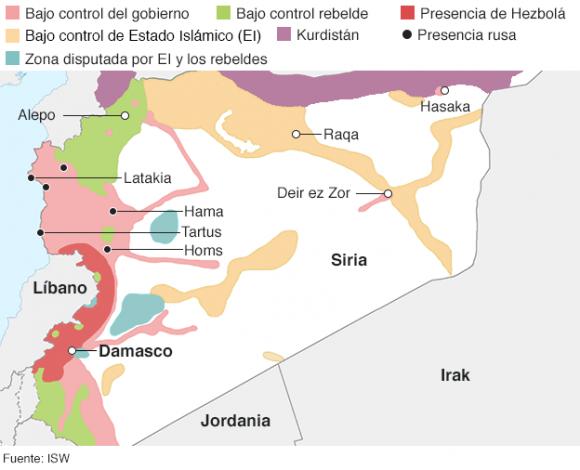 Diferencias en el control de territorios en Siria. Infografía: ISW.