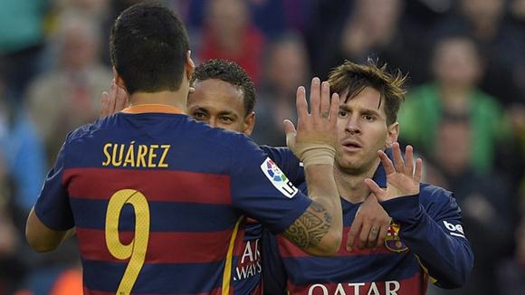 El tridente culé: Neymar, Luis Suárez y Messi. Foto: AFP