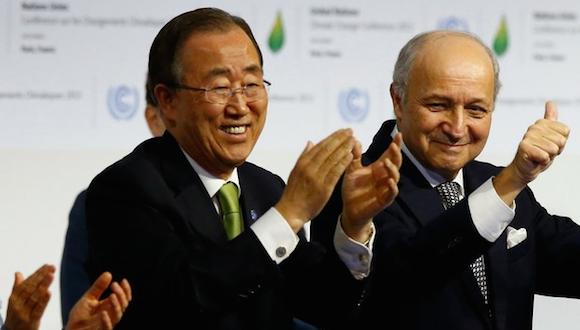 Ban Ki-moon, al término de la Conferencia de Naciones Unidas sobre Cambio Climático este sábado. Foto: AP