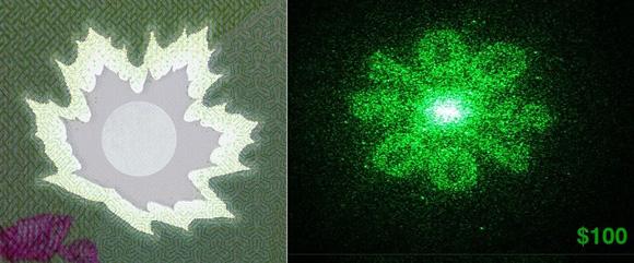 Un billete de 100 antes y después de usar al luz láser.