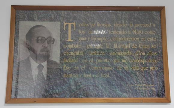 El cuadro con la imagen de Carlos Rafael Rodríguez. Foto: Ismael Francisco/ Cubadebate