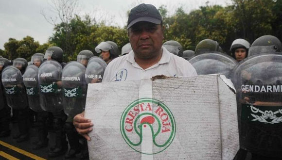 Gobierno argentino reprime huelga de trabajadores de la empresa Cresta Roja. Foto: Taringa.
