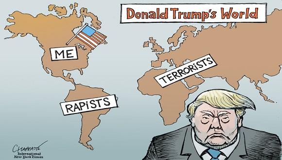 El Mundo de acuerdo con Donald Trump, caricatura del New York Times. Foto: New York Times.