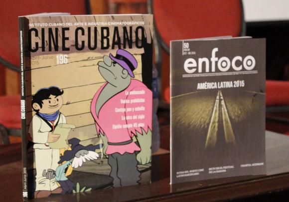 Cine cubano No. 196 y Enfoco No. 50 publicaciones presentadas en el marco del Festival de Cine. Foto: Paola/Cubadebate.