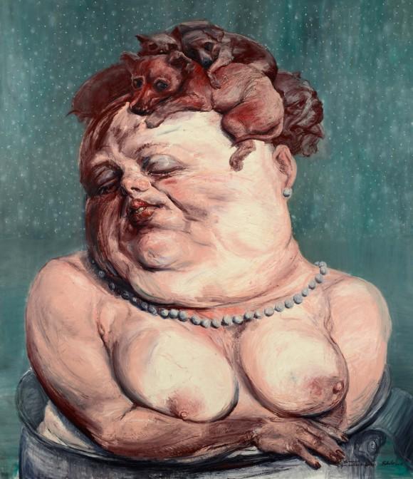 """""""La mujer que amaba a los perros"""", de Roberto Fabelo (2014). Óleo sobre lienzo/ 228 x 200 cm"""