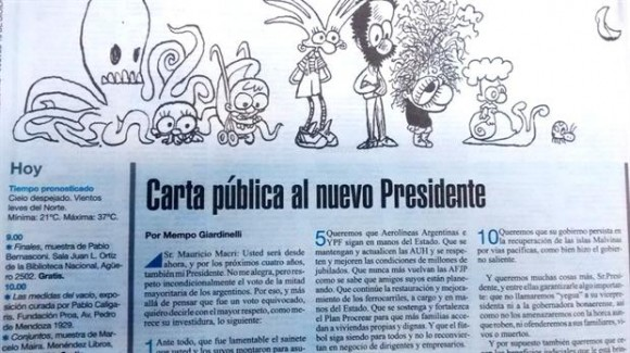 El escritor y periodista argentino publicó su carta en la edición de hoy de Página 12, Argentina.