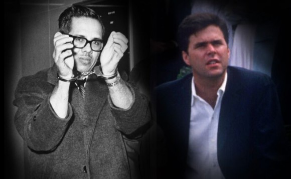 Orlando Bosch bajo custodia después de su comparecencia en Hartford, Connecticut, en 1965, y Jeb Bush en 1988.. (Foto ilustración: Yahoo Noticias, fotos: Bettmann / Corbis, George Bush Presidential Library and Museum)