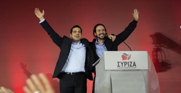 Alexis Tsipras y Pablo Iglesias en el mitin de cierre de campaña de Syriza, en las pasadas elecciones griegas.