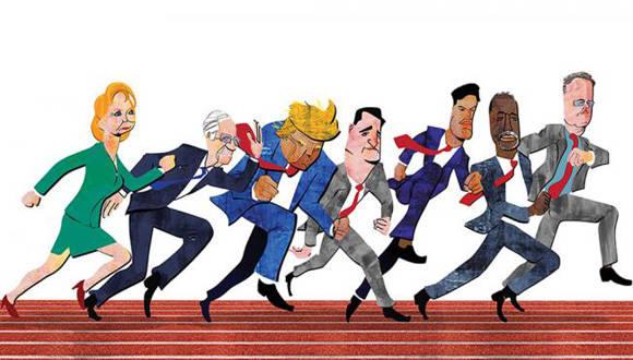 Caricatura de los principales aspirantes a la  Casa Blanca. A la izq. Hillary Clinton y Bernie Sanders (demócratas) y a la der. los cinco con opciones por el Republicano: (de izq. a der) Donald Trump. Ted Cruz, Marco Rubio, Ben Carson y Jeb Bush. Autor: Carlos Rivaherrera/El Universal).