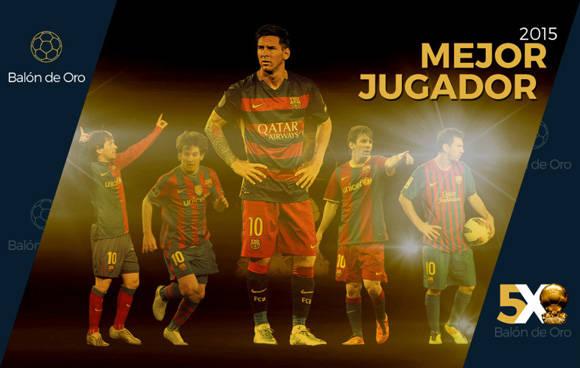 5 Balones de Oro para el argentino del Barcelona. Foto: Marca.