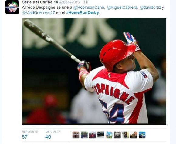 Captura de pantalla de la cuenta en twitter correspondiente a la Serie del Caribe 2016