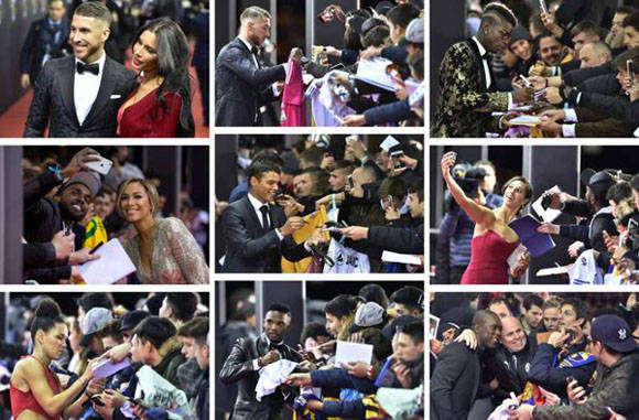 Jugadores firman autógrafos antes de entrar en la Gala del Balón de Oro 2015 en Zurich. Foto: @diarioas.
