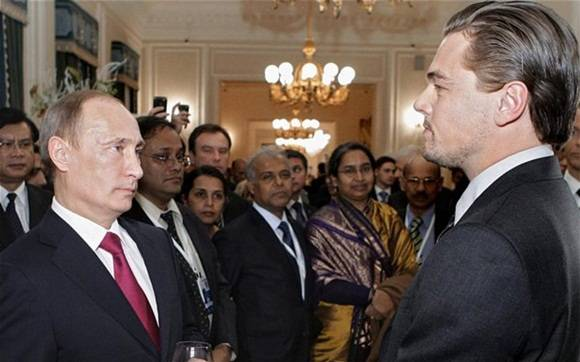 El actor Leonardo Di Caprio junto al mandatario Vladimir Putin.