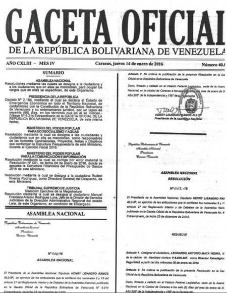Gaceta-Emergencia-económica Venezuela