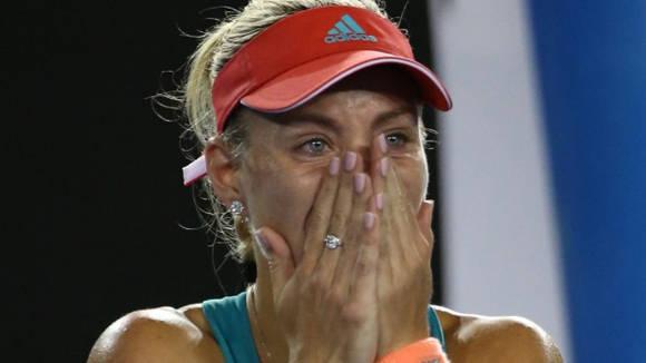 Kerber no lo podía creer. Foto: AP.