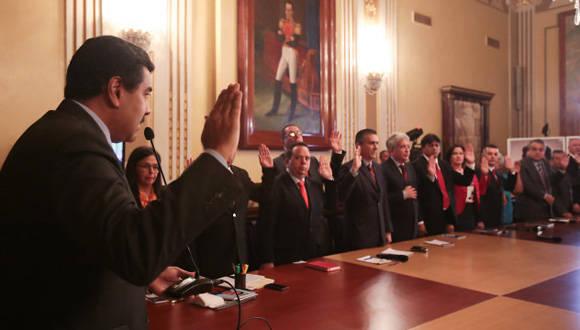 Maduro presentó su nuevo gabinete de gobierno. Foto tomada de Alba Ciudad.