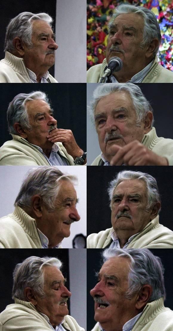 Los rostros de José Mujica durante su discurso en Casa de las Américas. Foto: José Raúl Concepción/Cubadebate.