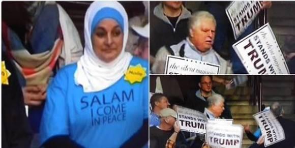 Musulmana expulsada por protesta silenciosa durante mitin de Donald Trump. Foto: @RucksDelBo.