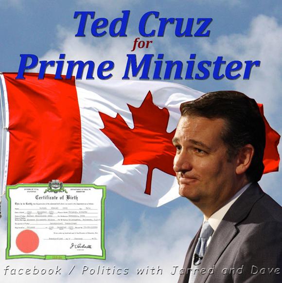 En las redes sociales abundan las bromas al respecto de esta polémica. En la imagen se propone a Cruz para Primer Ministro de Canadá y se muestra su certificado de nacimiento.