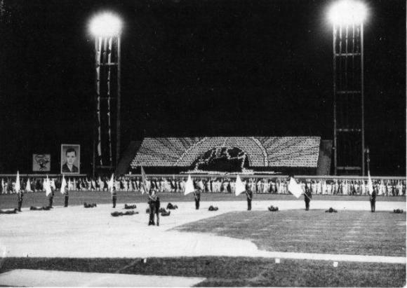 Una ceremonia en el estadio Capitán San Luis en 1991. Foto: Archivo.