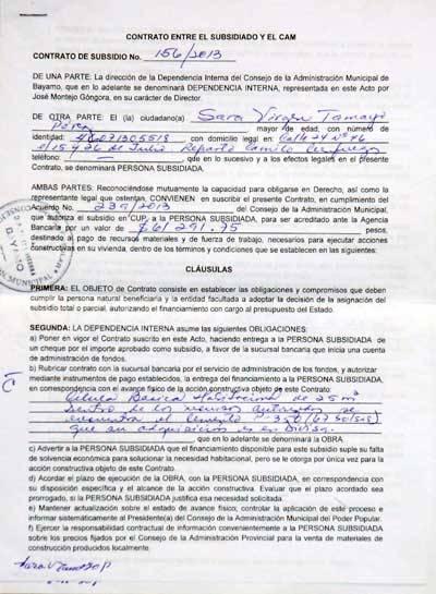 El contrato con la dependencia interna de los CAM fija deberes y derechos de ambas partes.