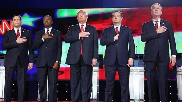 Los cinco favoritos por el Partido Republicano (de izq. a der.) Marco Rubio, Ben Carson, Donald Trump, Ted Cruz, Jeb Bush. Foto: EFE.