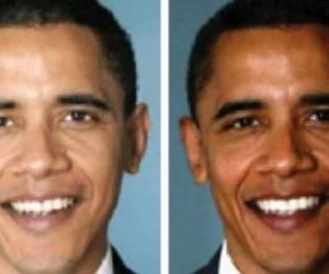 Barack Obama, a la izquierda en una imagen original, a la derecha en una imagen en la que aparece más negro. Foto: La Vanguardia
