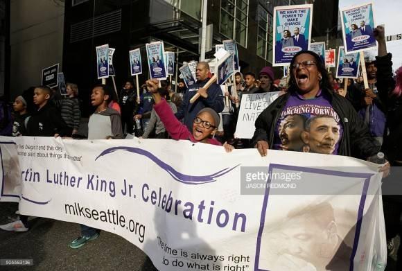 Protestas en EEUU durante el día de Martin Luther King.