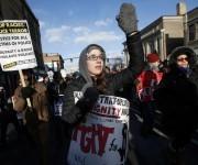 Protestas en Boston durante una marcha en el aniversario del asesinato de Martin Luther King. Foto: AP