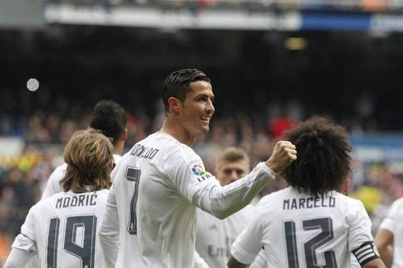 Cristiano Ronaldo celebra uno de sus goles al Sporting.