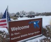 La entrada del Refugio de Vida Salvaje de Malheur, en Oregón (noroeste de EE.UU.).