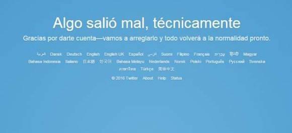 Mensaje que aparecía en la red Twitter durante las horas que estuvo fuera de servicio.