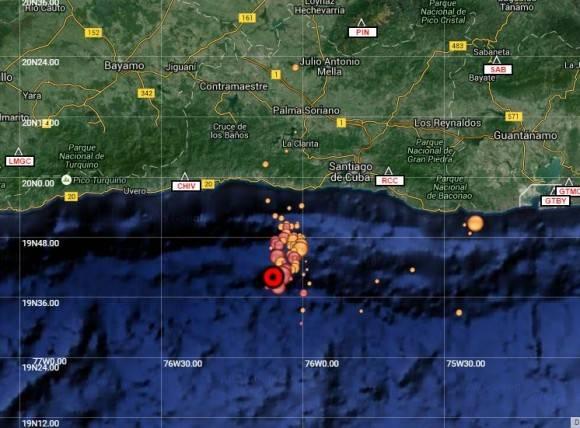 Imagen tomada del sitio del Centro Nacional de Investigaciones Sismológicas que muestra la actividad sismológica de ayer