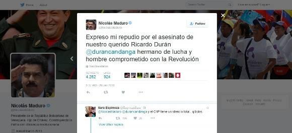 Cuenta en Twitter del presidente venezolano, Nicolás Maduro Moros.